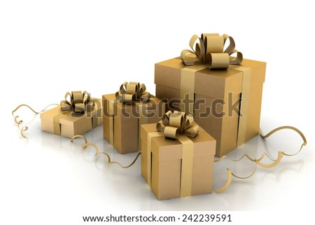 3d Illustration of boxes with christmas gifts  - stock photo
