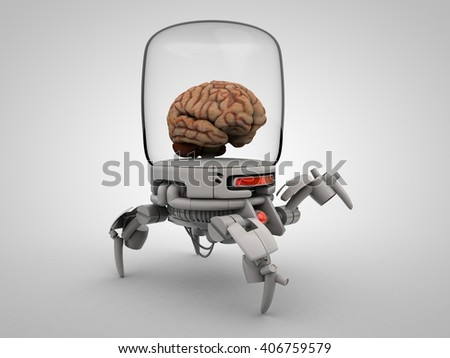 3D illustration of Brain robot cyborg - stock photo
