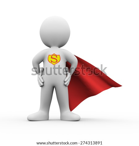 3d illustration of brave  super hero with red cloak confident standing posture gesture.  3d rendering of white man person people character - stock photo