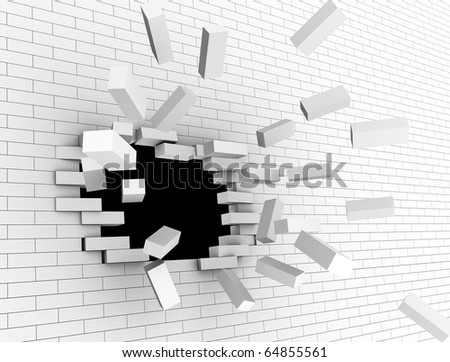 3d illustration of breaking white brick wall