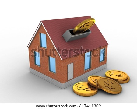 3d illustration of bricks house over white background with coins