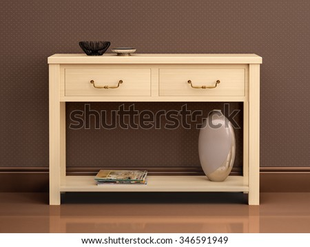 3d illustration of bright wooden chest of drawers in dark interi - stock photo