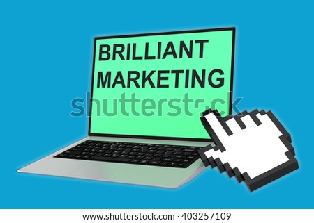 3D illustration of BRILLIANT MARKETING script with pointing hand icon pointing at the laptop screen. Marketing concept. - stock photo