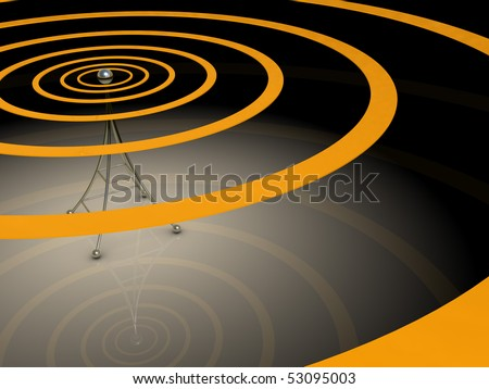 3d illustration of broadcasting antenna with radio waves over dark background - stock photo