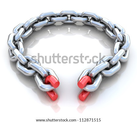 3d illustration of broken chain circle over white background - stock photo