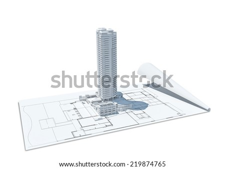 3d illustration of building design concept, architects computer generated visualization in drawing style  - stock photo