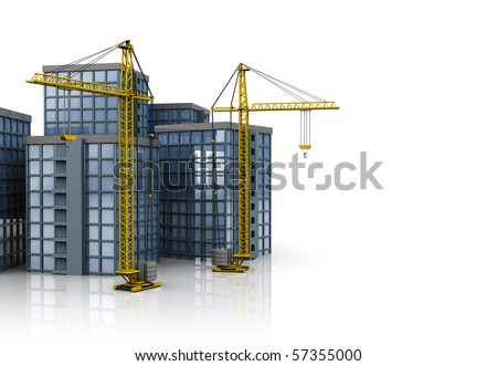 3d illustration of buildings and cranes over white background - stock photo