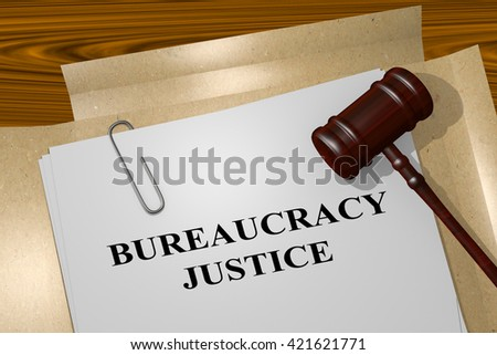 "3D illustration of ""BUREAUCRACY JUSTICE"" title on Legal Documents. Legal concept. - stock photo"