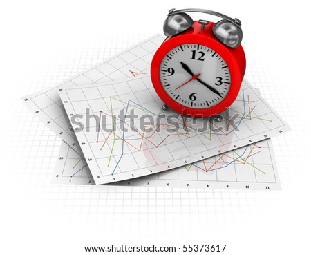 3d illustration of business diagrams and clock, over white background - stock photo