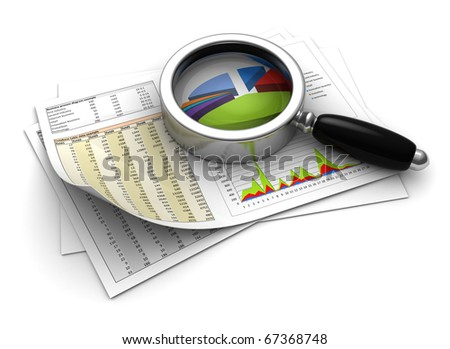 3d illustration of business diagrams prints with magnify glass - stock photo