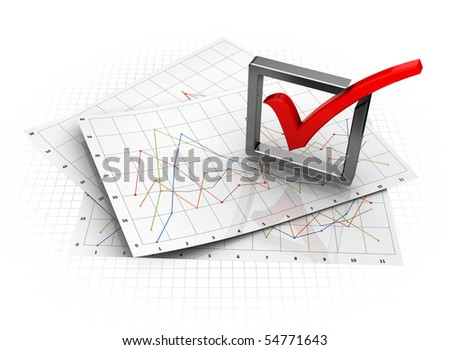 3d illustration of business diagrams with check-mark - stock photo