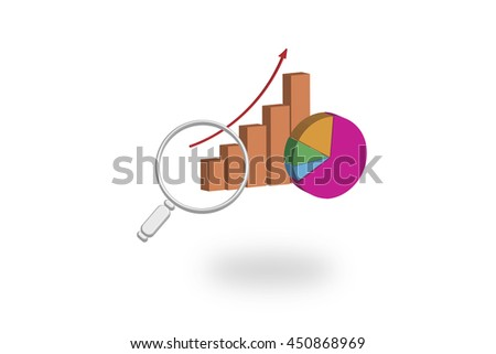 3d illustration of business graph with magnify glass - stock photo