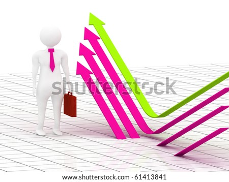 3d illustration of business man showing the way to lead - stock photo