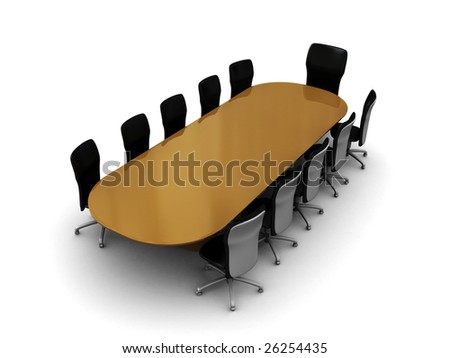 3d illustration of business meeting table and chairs, over white - stock photo