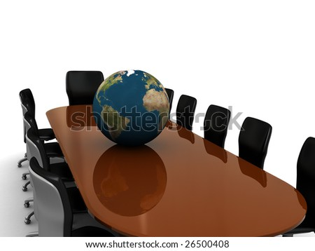 3d illustration of business meeting table and earth globe - stock photo