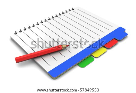 3d illustration of business organizer and pencil, over white background