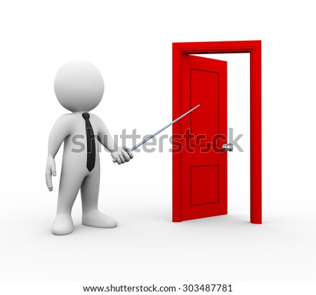 3d illustration of business person pointing to open door. 3d rendering of man human people character - stock photo