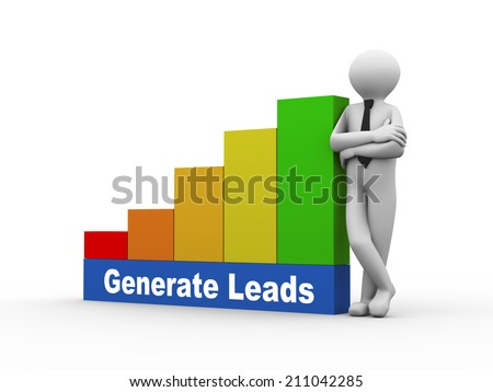 3d illustration of business person with generate leads progress growth rising bars. 3d human person character and white people - stock photo