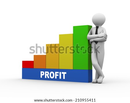 3d illustration of business person with profit progress growth rising bars. 3d human person character and white people - stock photo