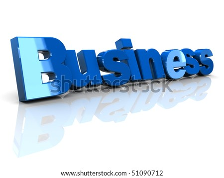 3d illustration of business sign over white background