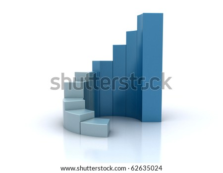 3d illustration of business success charts over white background