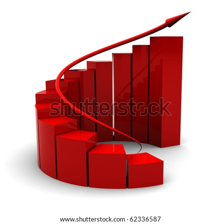 3d illustration of business success charts with arrow, over white background - stock photo