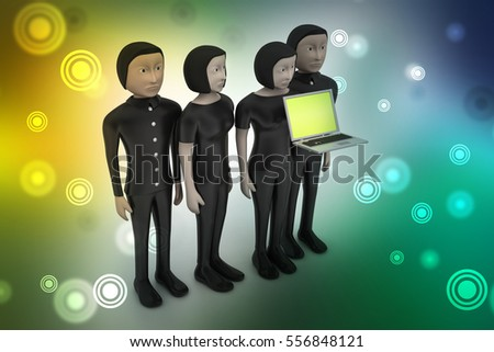 3D illustration of Business team looking at a Laptop
