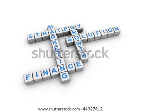 3d illustration of business words on cubes, in a crossword style