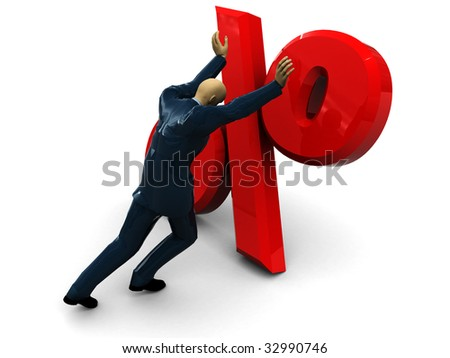 3d illustration of businessman and percent sign over white background - stock photo