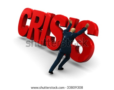 3d illustration of businessman and text 'crisis' over white background - stock photo