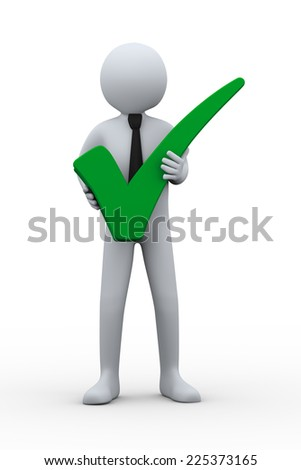 3d illustration of businessman holding green right tick check mark symbol 3d rendering of human people character. - stock photo