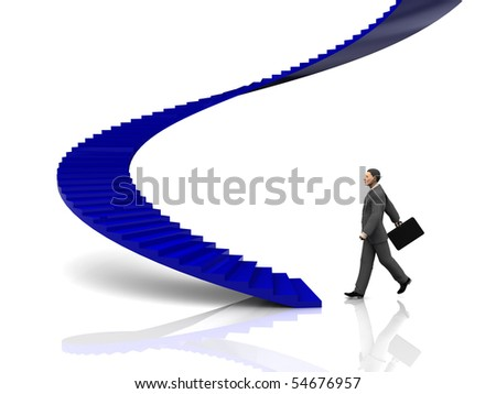 3d illustration of businessman step to stairway - stock photo