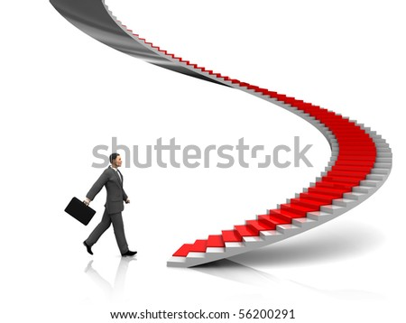 3d illustration of businessman step to stairway with red carpet - stock photo