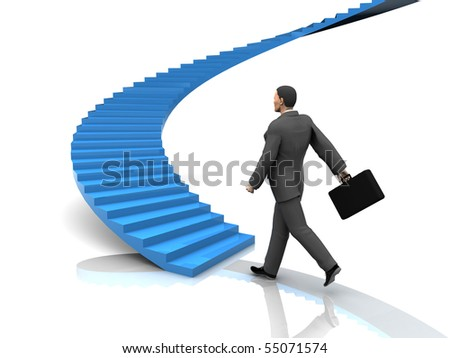 3d illustration of busnessman moving forward to stairway - stock photo