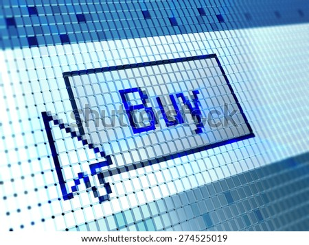 3d illustration of button 'buy' on monitor screen closeup - stock photo