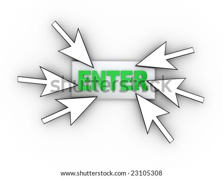 3d illustration of button with text 'enter' ant mouse cursors - stock photo
