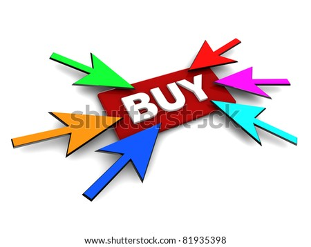 3d illustration of 'buy' button and many cursors, internet shopping concept - stock photo