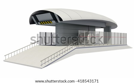 3D illustration of Cableway Station - Isolated on white - stock photo