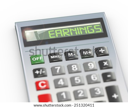 3d illustration of calculator with digital text word earnings on lcd display - stock photo
