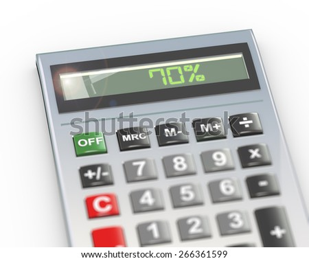 3d illustration of calculator with digital text word 70 percent on lcd display - stock photo
