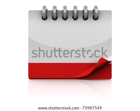 3d illustration of calendar with blank page - stock photo