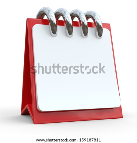 3d illustration of calendar with blank page, over white background - stock photo