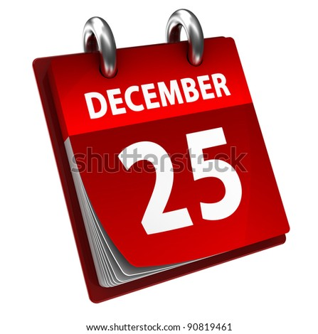 3d illustration of calendar with christmas date page open - stock photo