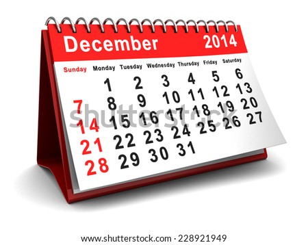 3d illustration of calendar with december 2014 page