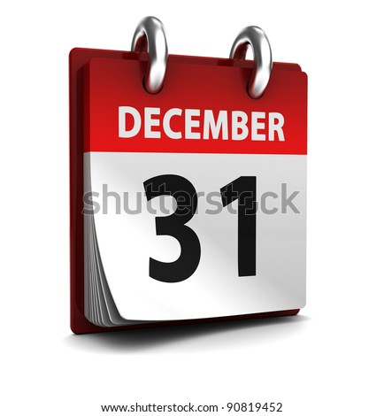 3d illustration of calendar with 31 december page open - stock photo