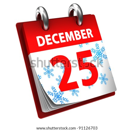 3d illustration of calendar with 25 december page open - stock photo