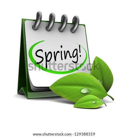 3d illustration of calendar with spring page and green leaf