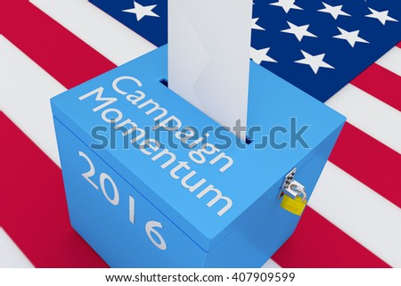 """3D illustration of """"Campaign Momentum"""", """"2016"""" scripts and on ballot box, with US flag as a background. Election Concept. - stock photo"""