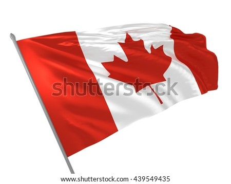 3d illustration of Canada flag waving in the wind