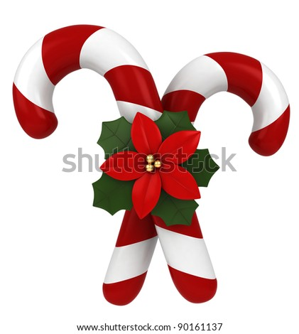 3D Illustration of Candy Canes Tied Together by a Poinsettia - stock photo